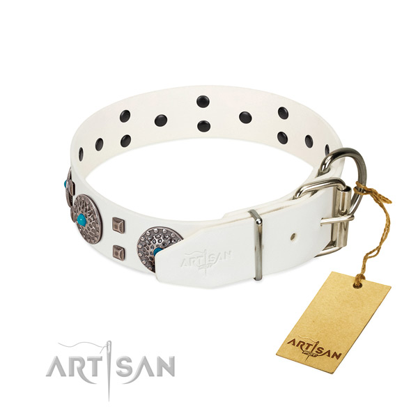 Comfortable to wear leather dog collar with reliable
