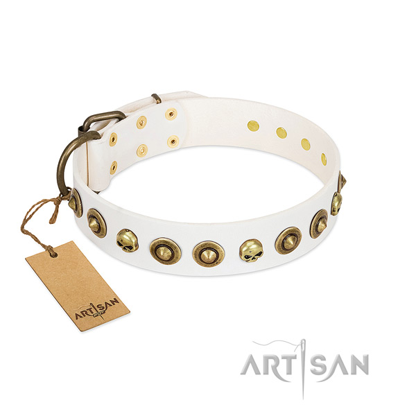Excellent quality Artisan white leather dog collar