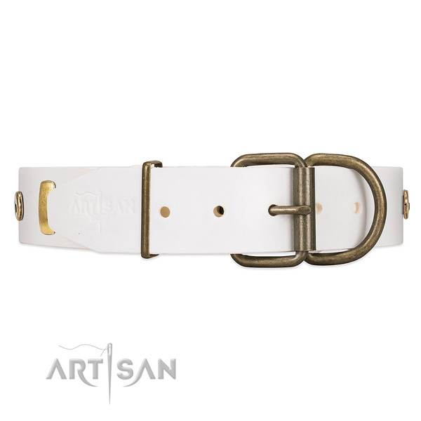 White Leather Dog Collar with Reliable Hardware for Improved Control