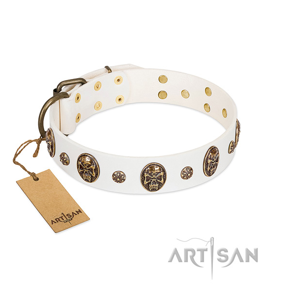 White Artisan leather dog collar for walking in style