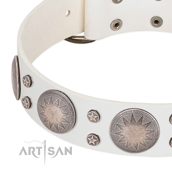 FDT Artisan white leather dog collar with incredible