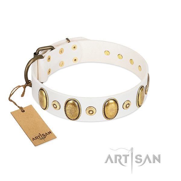 White Leather Collar with Riveted Metal Elements