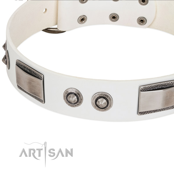 Elegant white dog collar with large plates and spiked