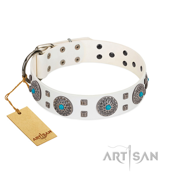 Magnificent FDT Artisan white leather dog collar for