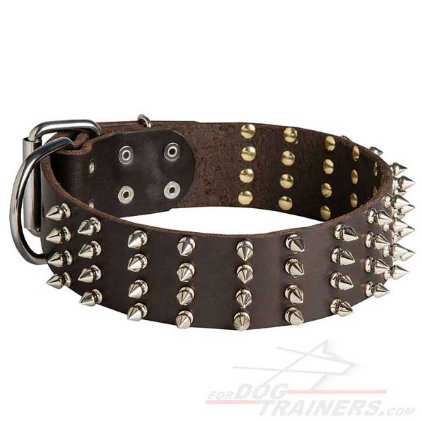 Leather dog collar wide with spikes