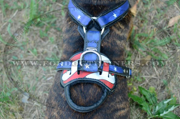 Leather Handle on Dog Harness with American Pride Image