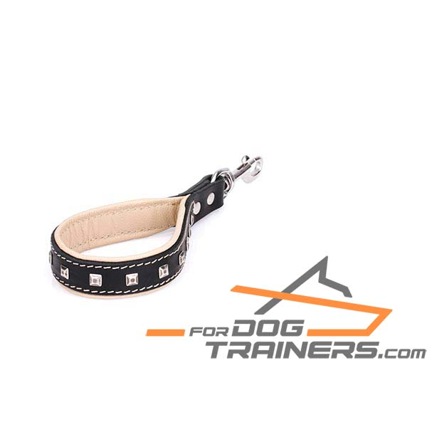 Leather dog lead with studs