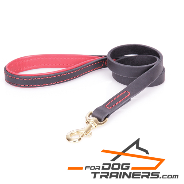 Dog leather leash is stitched with a special thread