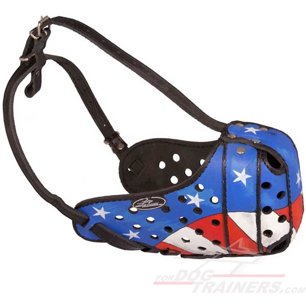 Leather dog muzzle hand-painted