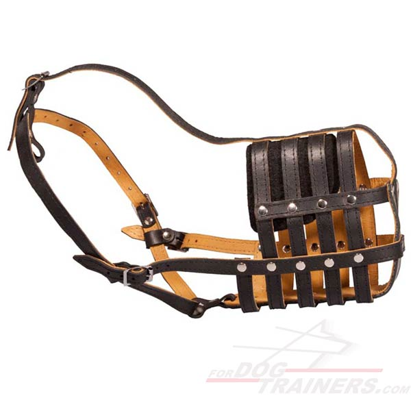 Padded Basket Leather Dog Muzzle for Large Breeds