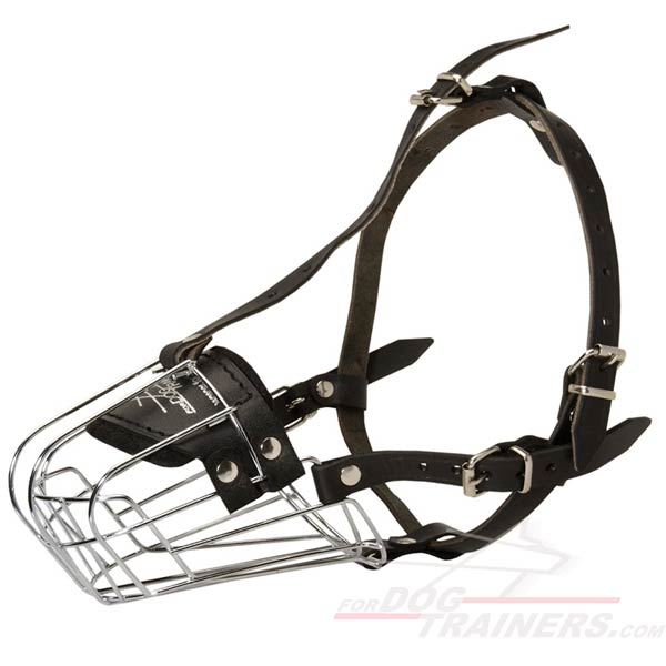 Strong Wire Cage Dog Muzzle with Adjustable Non-Stretch Straps