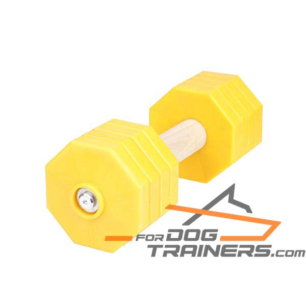 Quality Wood Dog Dumbbell with Removable Plates