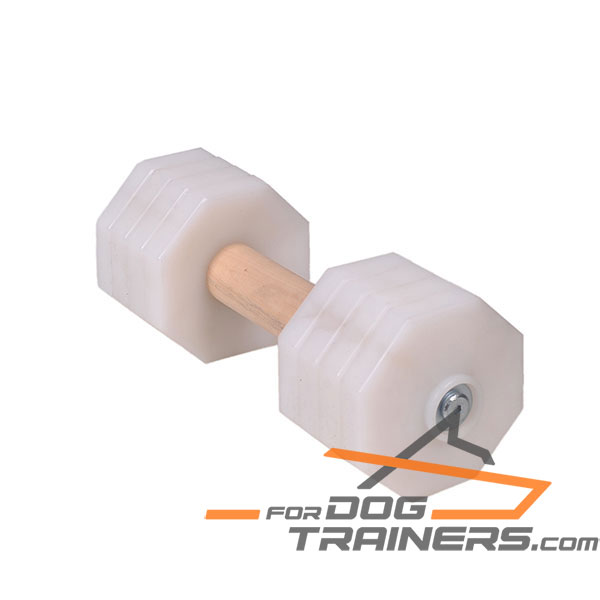 Indestructible Dog Dumbbell with Wooden Dowel