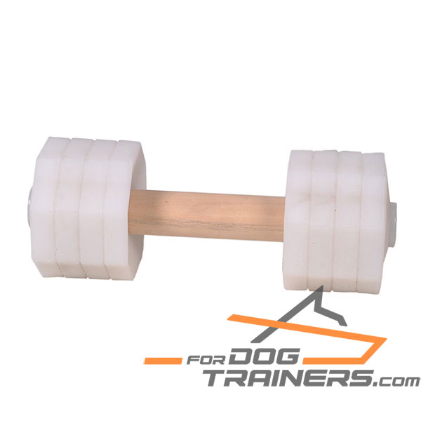 Wooden Dog Dumbbell with Plastic Weight Plates