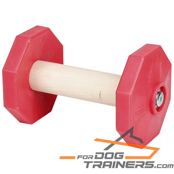 Wooden dog dumbbell for training