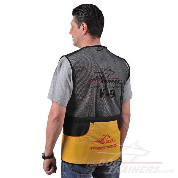 Synthetic dog training vest air ventilated