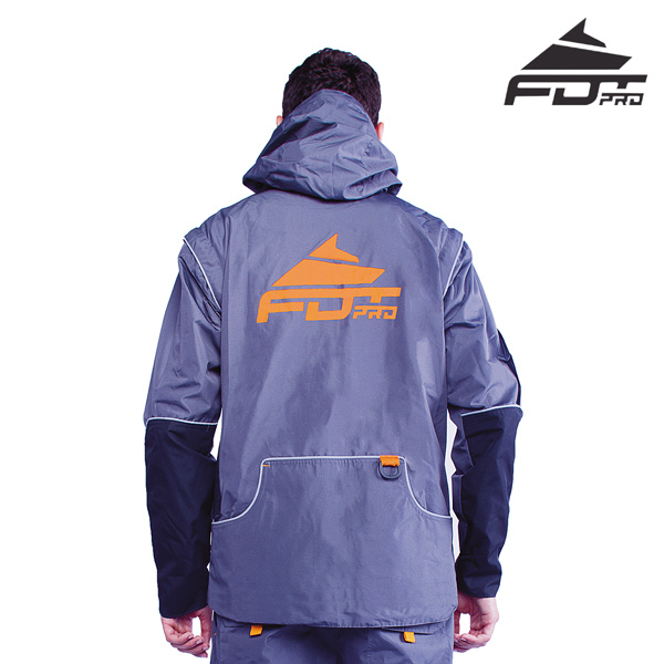 FDT pro orange logo on dog training jacket