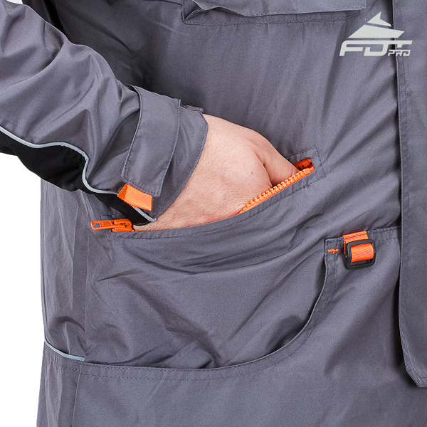 Dog training jacket with roomy pockets