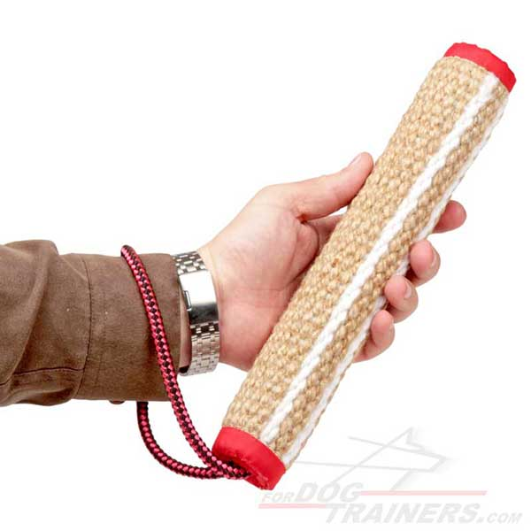 Jute dog bite tug with a handle