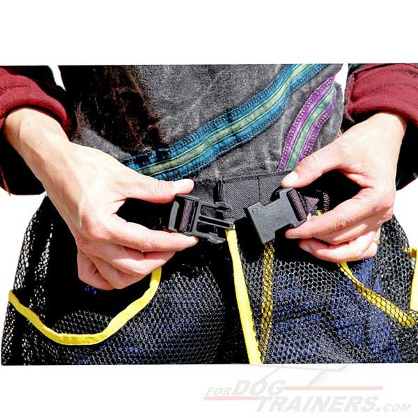 Synthetic dog training skirt pouch with a buckle