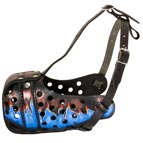 Stylish Handpainted Leather Dog Muzzle for Dog Training