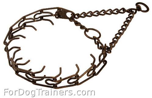 Steel - Antique Plated Dog Pinch Collar