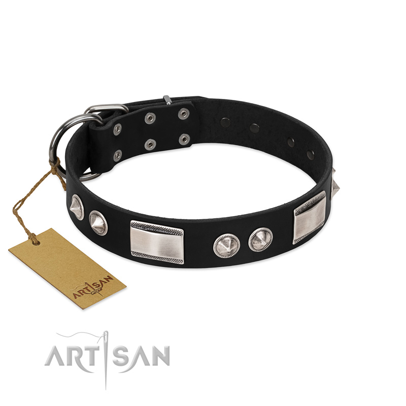 """Black Boss"" FDT Artisan Stylish Black Leather Dog Collar with Nickel Decorations"