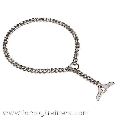 chromium plated choke chain dog collar with toggle