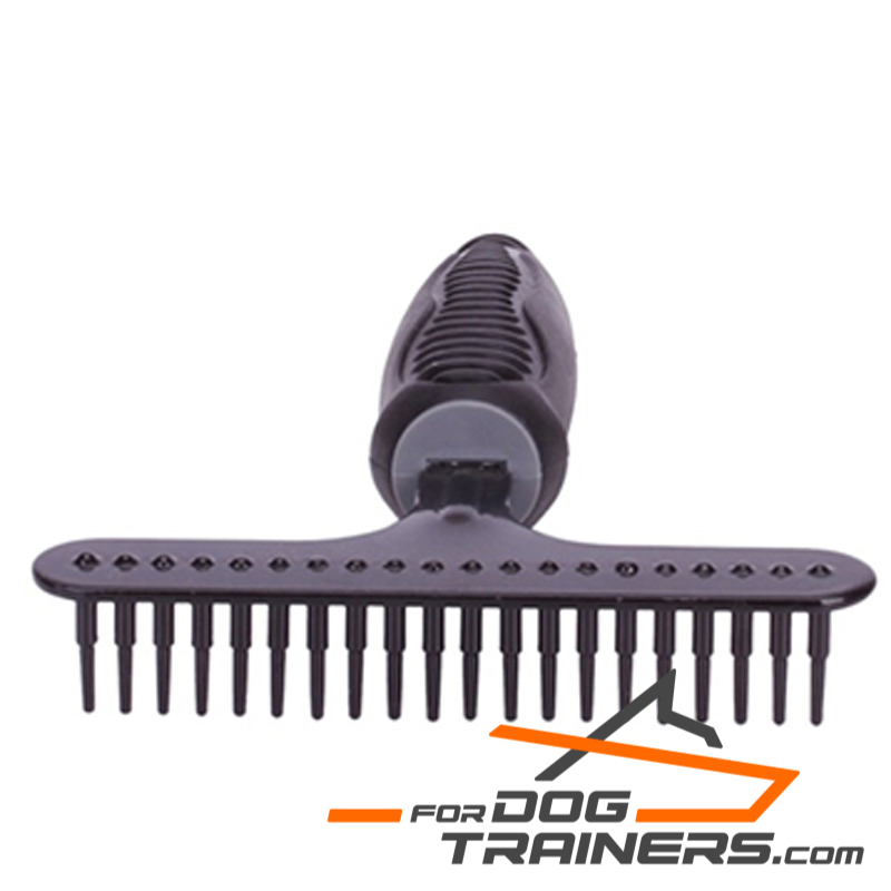 """Gorgeous Look"" Metal Brush with Rubber Handle (DENTI CONICI GRANDE ) for Dog Grooming"