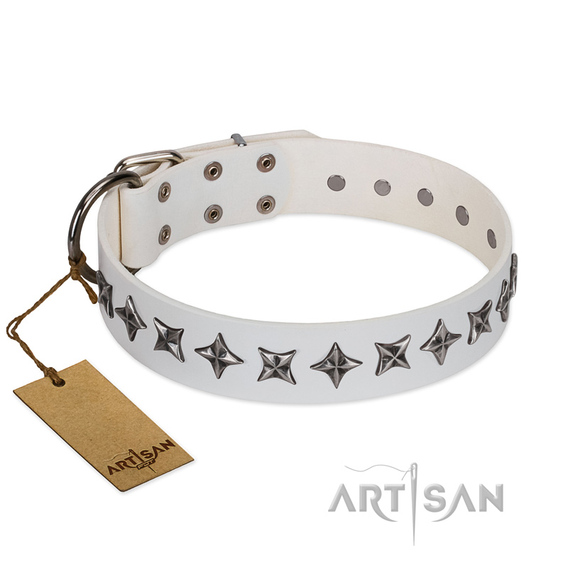 """Midnight Stars"" FDT Artisan Fashionable Leather Dog Collar with Old Silver-like Plated Decorations 1 1/2 inch (40 mm) Wide - Click Image to Close"