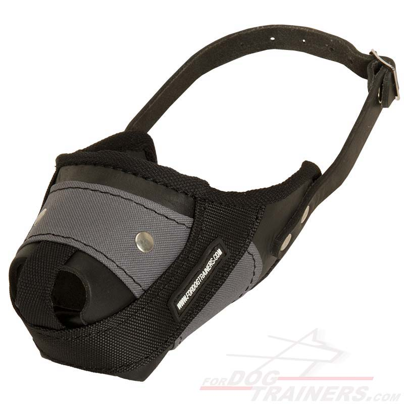 Lightweight Dog Muzzle Made of Nylon and Leather for Agitation Training - Click Image to Close