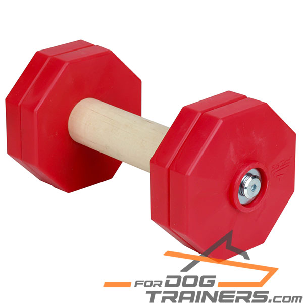 'Body Builder' Wooden Dog Training Dumbbell with Red Plastic Weight Plates 1000 g - Click Image to Close