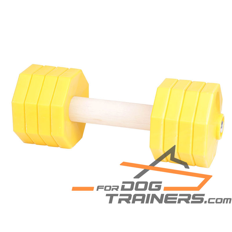 'Freedom and Adventures' Wooden Dog Training Dumbbell with Plastic Weight Plates 2000 g - Click Image to Close