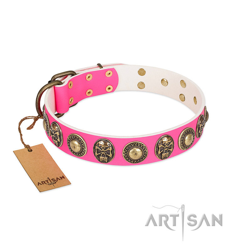 """Two Extremes"" FDT Artisan Pink Leather Dog Collar with Elegant Conchos and Medallions with Skulls - Click Image to Close"