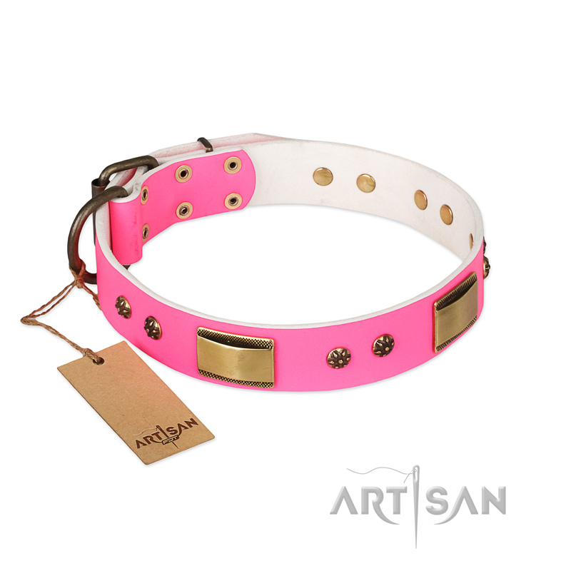 'Pink Daydream' FDT Artisan Pink Leather Dog Collar with Old Bronze Look Plates and Studs - 1 1/2 inch (40 mm) wide - Click Image to Close