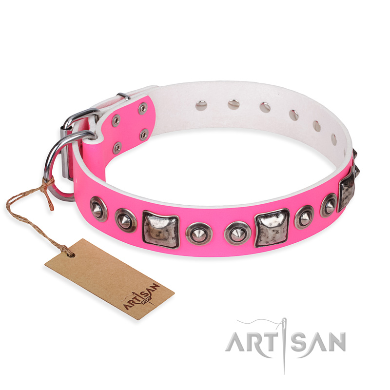 'Pink Dream' FDT Artisan Leather Dog Collar with Silvery Decorations - 1 1/2 inch (40 mm) wide - Click Image to Close