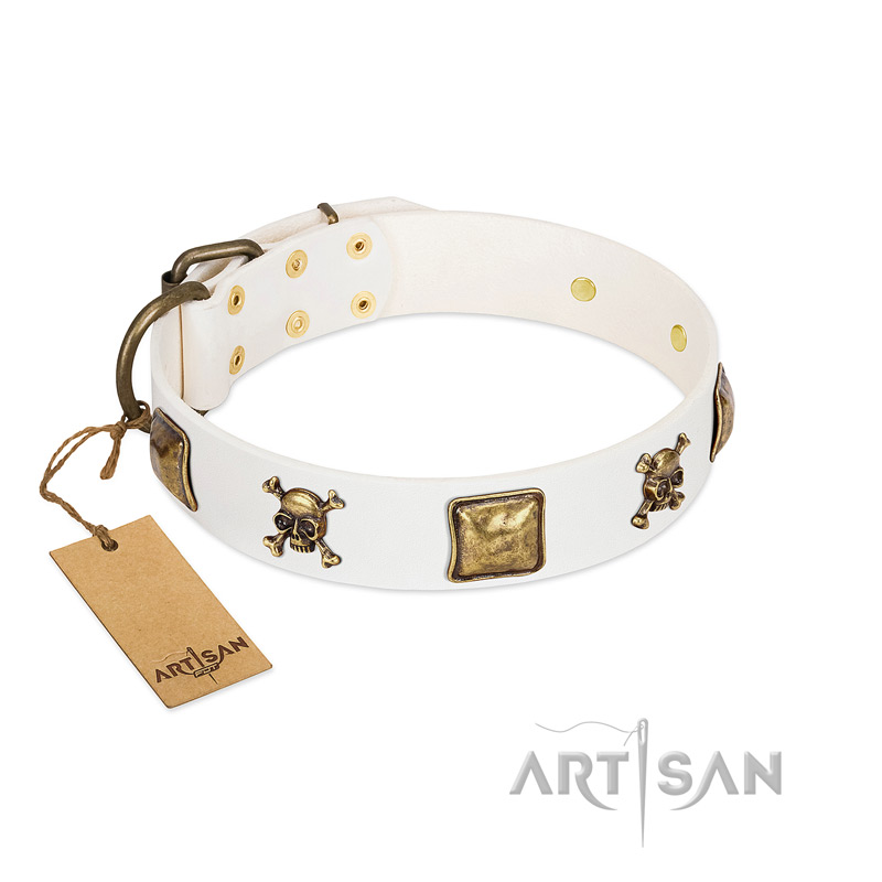 """Glo Up"" FDT Artisan White Leather Dog Collar with Skulls and Crossbones Combined with Squares - Click Image to Close"