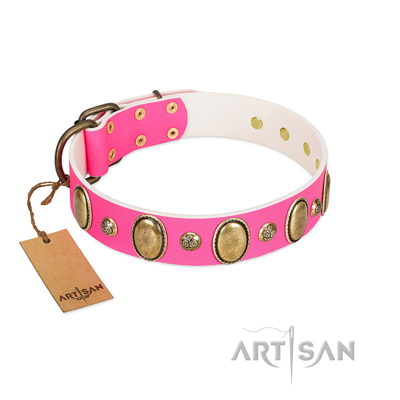"""Roseate Dawn"" FDT Artisan Pink Leather Collar with Vintage Looking Oval and Round Adornments - Click Image to Close"
