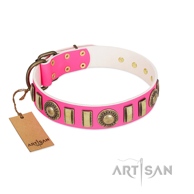 """La Femme"" FDT Artisan Pink Leather Dog Collar with Ornate Brooches and Small Plates - Click Image to Close"