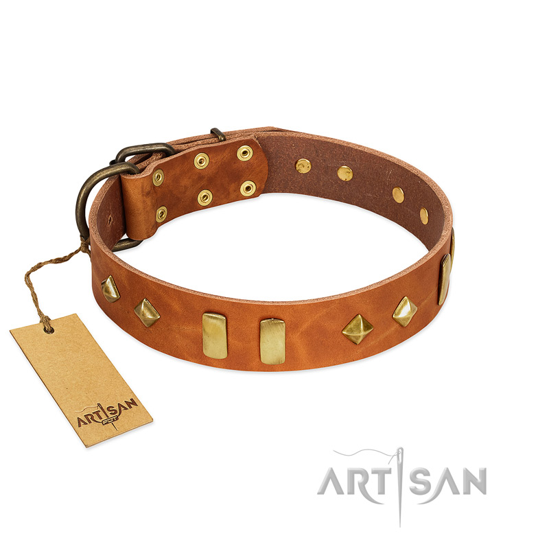 """Woofy Dawn"" FDT Artisan Tan Leather Dog Collar with Plates and Rhombs - Click Image to Close"