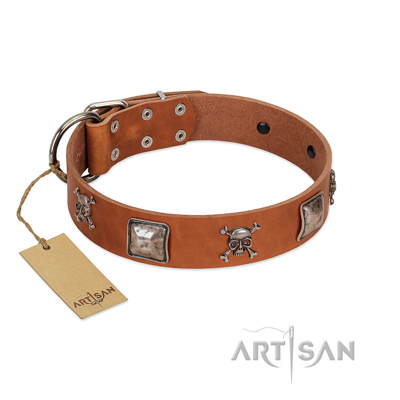"""Amorous Escapade"" Embellished FDT Artisan Tan Leather Dog Collar with Chrome Plated Crossbones and Plates - Click Image to Close"