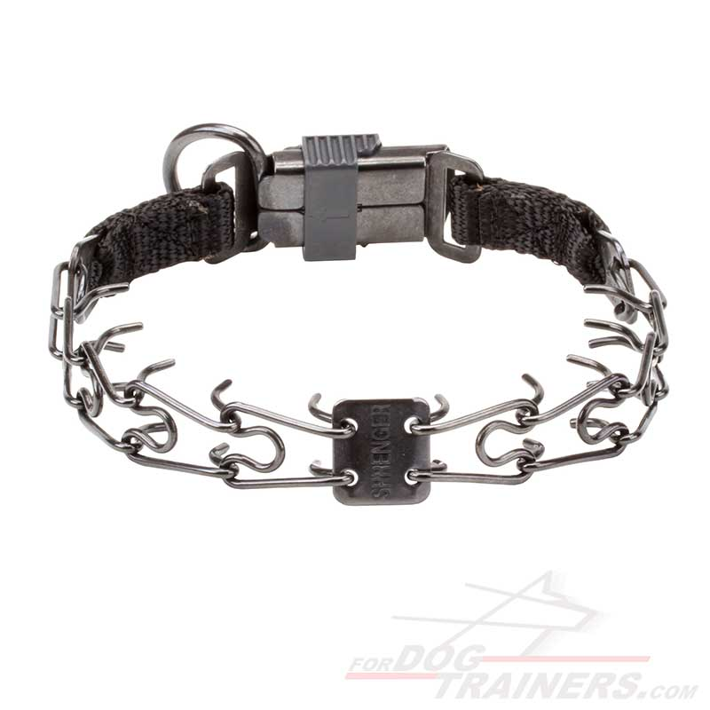 Dog Pinch Collar of Black Stainless Steel with Click Lock Buckle - 1/11 inch (2.25 mm) link diameter - Click Image to Close