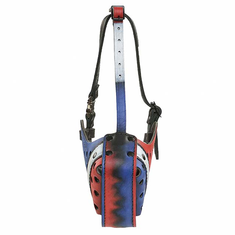 """Flag of France"" Handpainted Leather Dog Muzzle for Attack/Agitation Work - Click Image to Close"