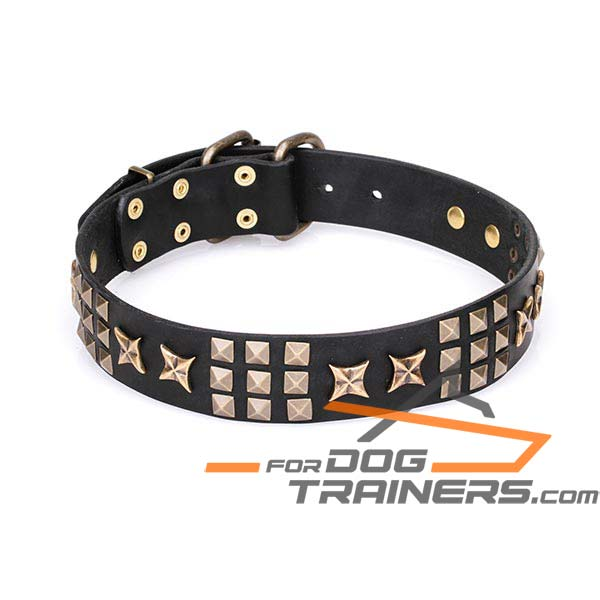 'Pharaoh's Necklace' Wide Leather Dog Collar with Old Bronze-Plated Hardware 1 3/5 inch (40 mm) Wide - Click Image to Close