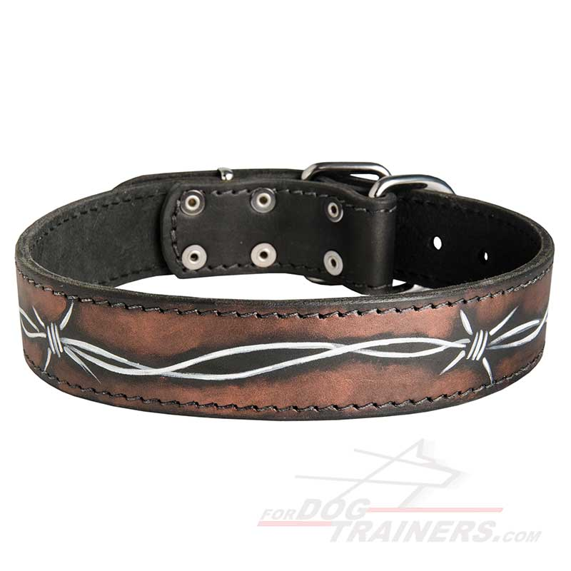 Handpainted Leather Dog Collar with Barbed Wire - Click Image to Close
