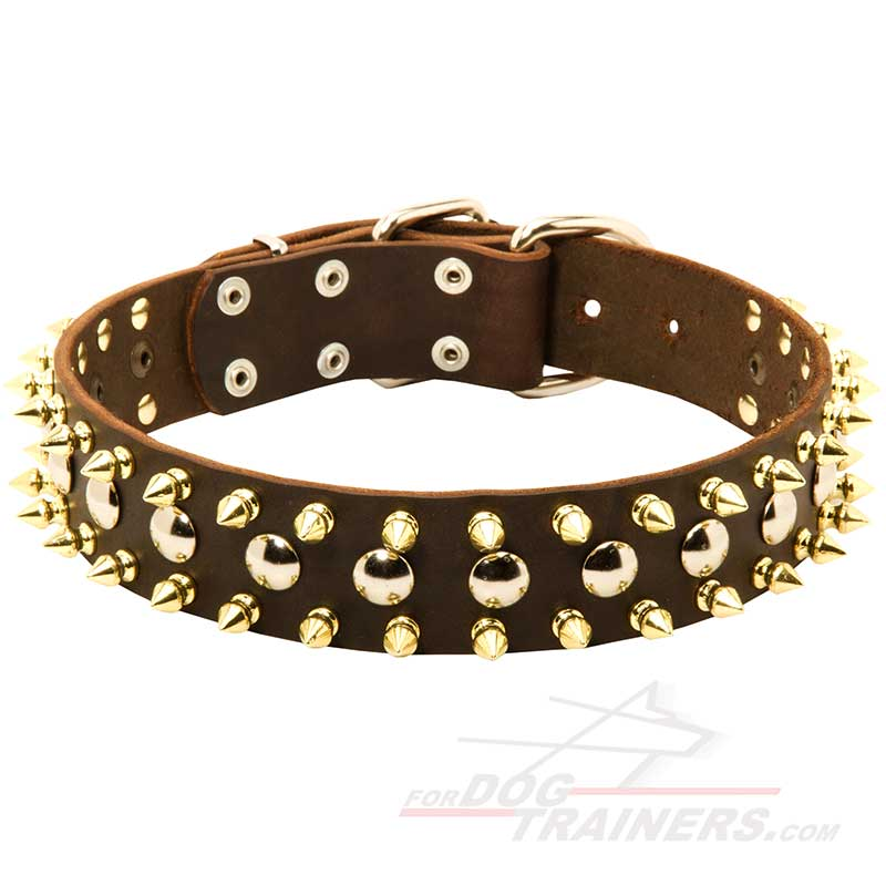 3 Rows Leather Dog Collar with Nickel Studs and Brass Spikes - Click Image to Close