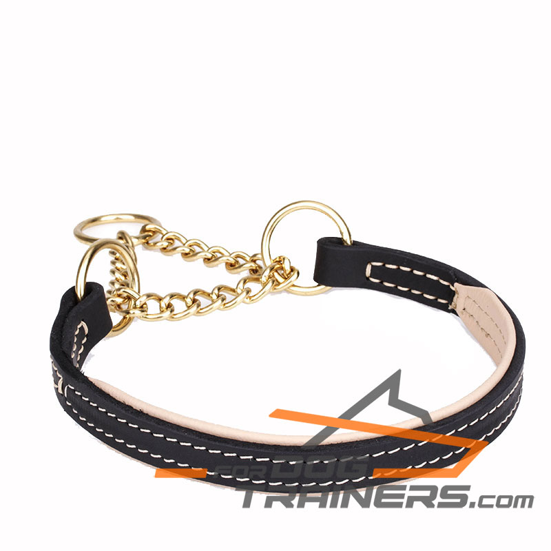 """Smart Device"" Nappa Padded Leather Martingale Collar - 1 inch (25 mm) wide - Click Image to Close"