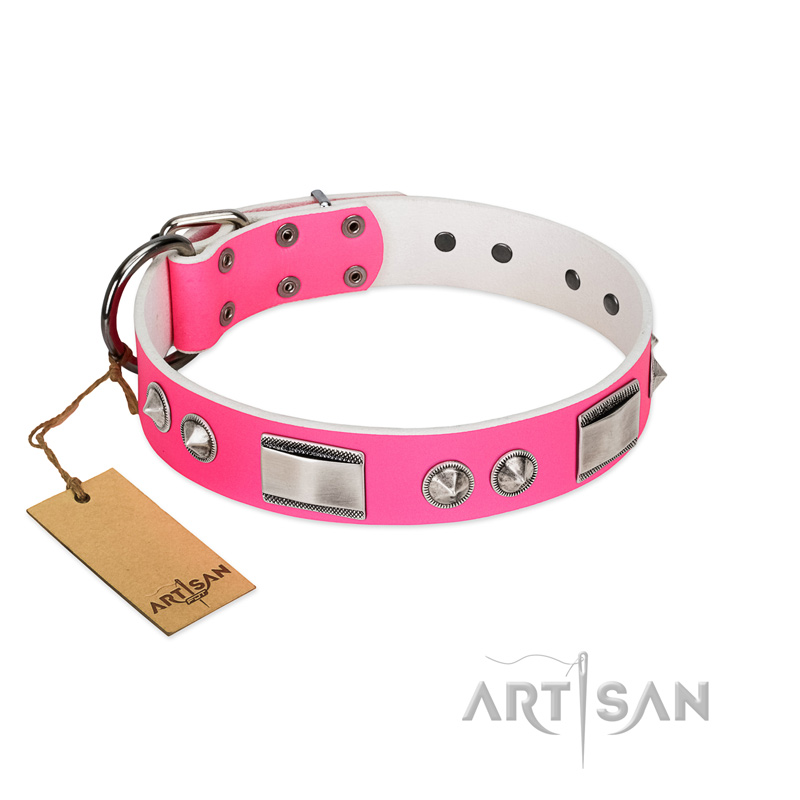 """Romantic Pink"" Super Stylish FDT Artisan Pink Leather Dog Collar with Nickel Decorations"