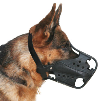 Thick And Strong German Shepherd Muzzle with Leather Basket - Click Image to Close