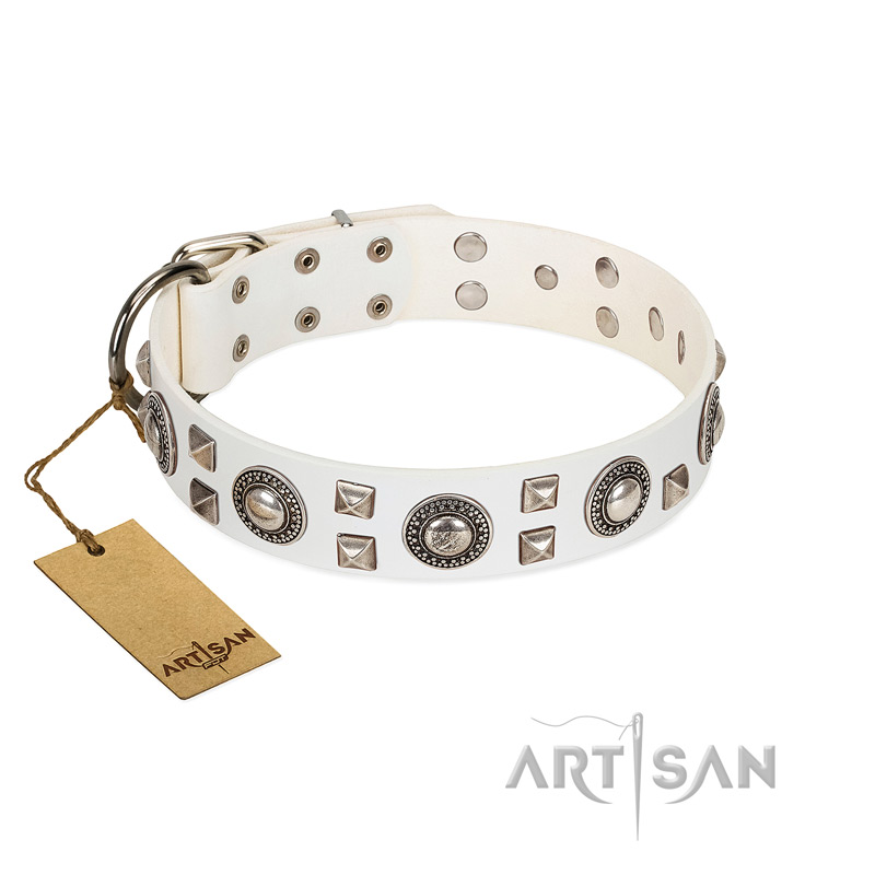 """Wonderful Treasure"" FDT Artisan White Leather Dog Collar with Old Silver Decorations"